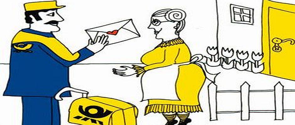So stellt sich unser EZ-Zeichner einen Postboten vor.
