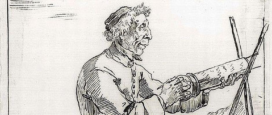 Dieses Selbstportrait von Arnulf Myklebust stammt aus dem Jahre 1785. Der damals 52-Jährige trug zu dieser Zeit noch volles Haupthaar.