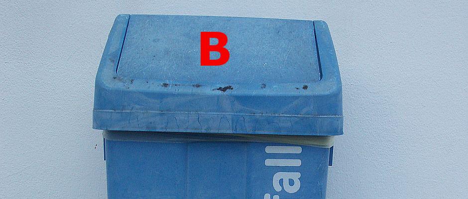 In diesen Mülleimer dürfen ab 2015 nur noch mit dem Buchstaben B beginnende Abfälle entsorgt werden, wie Bananen, Beton, Blaubeeren, BHs, Bowlingkugeln, Brot oder Bratwürste.