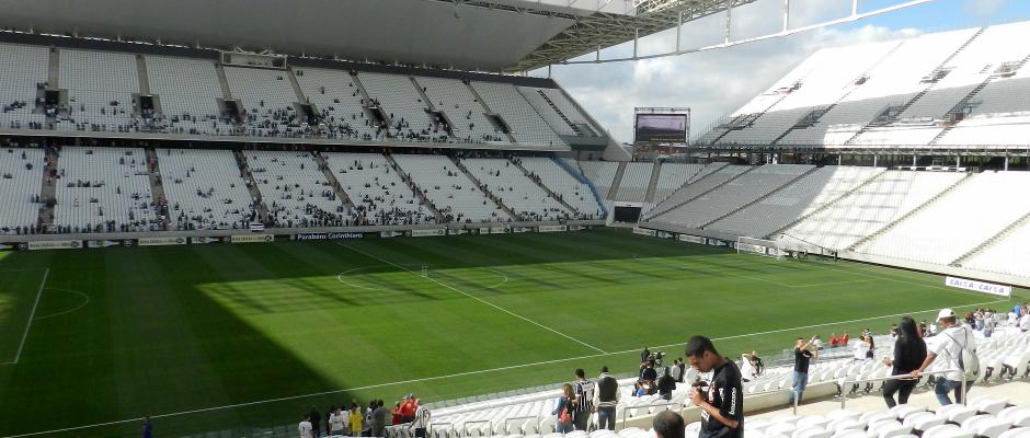 Das Stadion in Sao Paulo (hier eine Archivaufnahme) war gar nicht komplett fertig. Nun müssen womöglich alle Spiel nachgeholt werden,