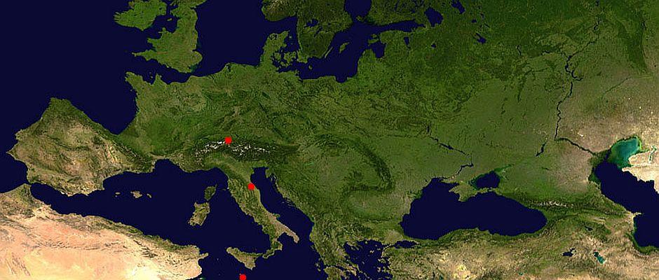 Die USA kann auf die Unterstützung der Länder San Marino (roter Punkt), Malta (roter Punkt) und Liechtenstein (roter Punkt) bauen.