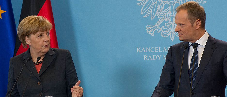 Machen langsam Ernst: Bundeskanzlerin Merkel und EU-Ratspräsident Donald Tusk (rechts).