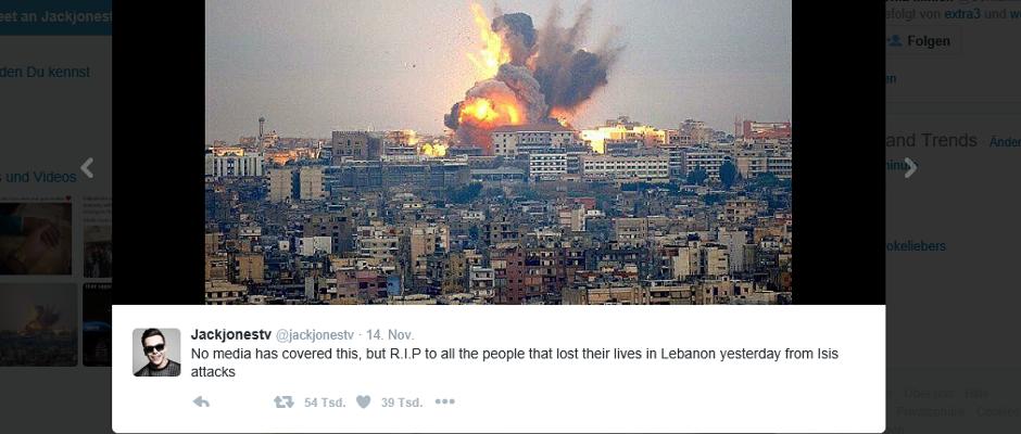 Übrigens zeigt dieses Bild, das derzeit fleißig über die sozialen Netzwerke geteilt wird, nicht die Anschläge in Beirut von letztem Donnerstag, sondern einen Angriff der israelischen Armee gegen die Hisbollah im Jahre 2006.