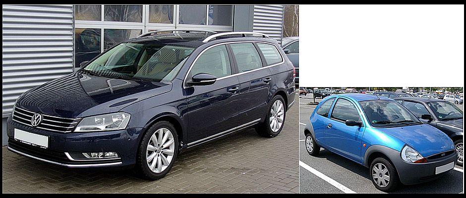 Auf den ersten Blick kaum zu unterscheiden: Links ein handelsüblicher VW Passat, rechts ein Ford Ka.