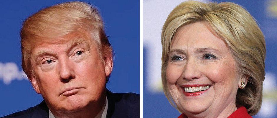 Trump (links), Clinton (rechts)