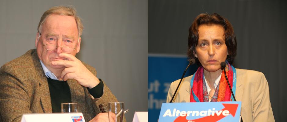Die intellektuelle Spitze der AfD, Alexander Gauland und Beatrix von Storch (rechts).