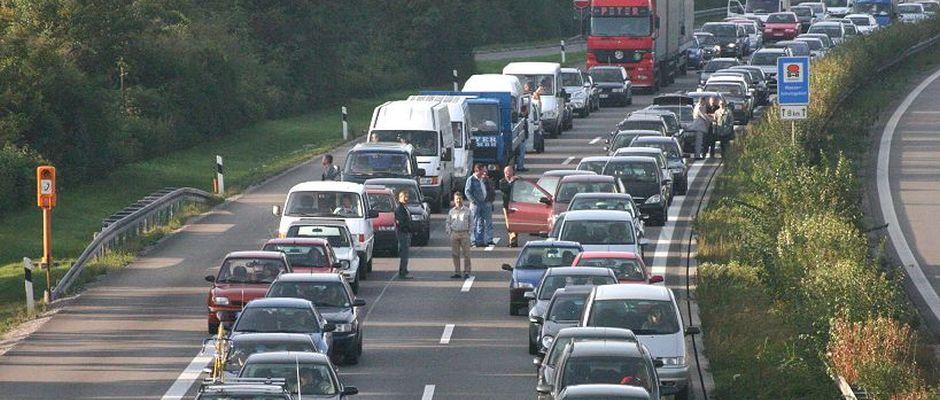 Derzeit ein häufioges Bild auf den Autobahnen: Stau.