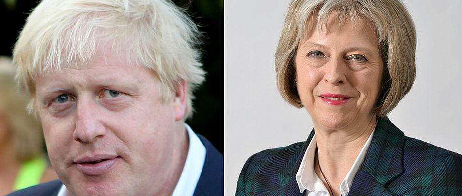 Überraschend hat Premierministerin May (rechts) Boris Johnson (links) zum neuen Außenminister ernannt.