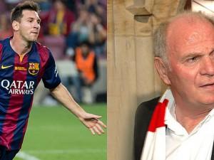 Messi (links) wurde heute wegen Steuerhinterziehung verurteilt. Hoeneß (rechts) zeigt sich schwer enttäuscht vom argentinischen Superstar (wieder links)