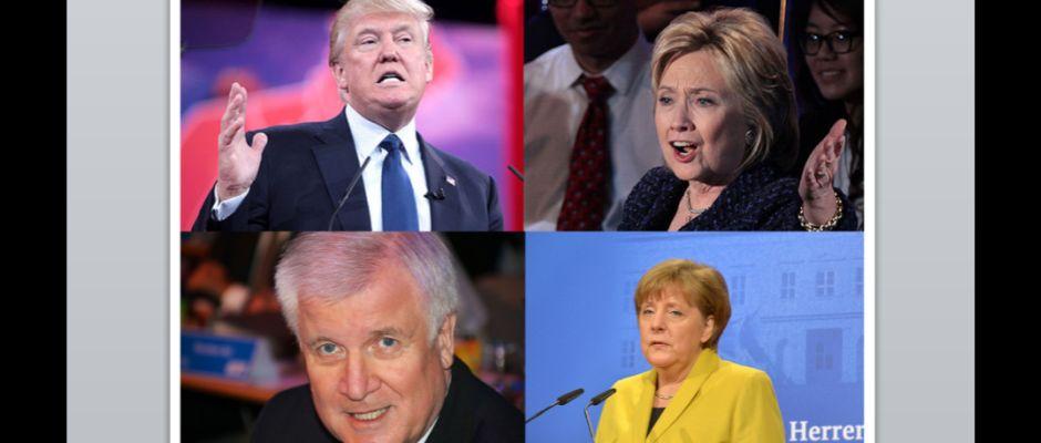 Seehofer, Merkel, Trump und Clinton (von links oben nach rechts unten).
