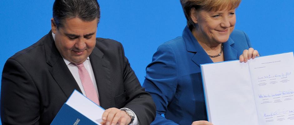 Schon bei der Unterzeichnung des Koalitionsvertrages 2013 konnte sich die SPD über eine hübsche Summe freuen.