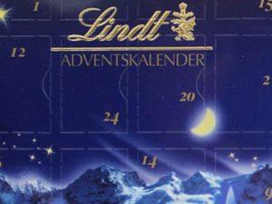 Ein fehlerhafter Adventskalender von Lindt. Unübersehbar: Die fehlerhafte Anordnung der Türchennummern.