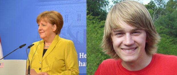 Das hat viele Menschen überrascht: Angela Merkel stellte gestern erstmals ihren Sohn Max (rechts) vor.