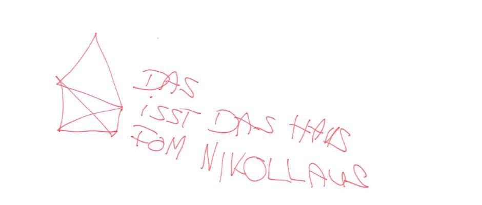 Mit diesem miesen und sachlich falschen Bild behauptete ein Schüler aus Chemnitz, das Haus vom Nikolaus gemalt zu haben.