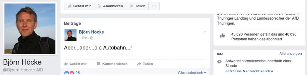 Screenshot von Björn Höckes Facebook-Post.