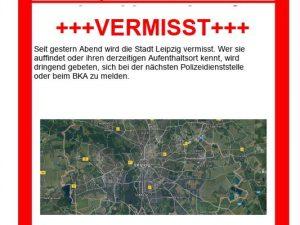 Mit diesem offiziellen Fahndungsplakat hofft die Polizei, die gestohlene Stadt Leipzig schnell wiederzufinden.