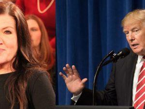 Links: Schauspielerin Katy Karrenbauer. Rechts: Schauspieler Donald Trump