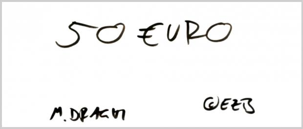 """Es steht zwar deutlich """"50 Euro"""" drauf - aber bei diesem Exemplar handelt es sich um eine Fälschung."""
