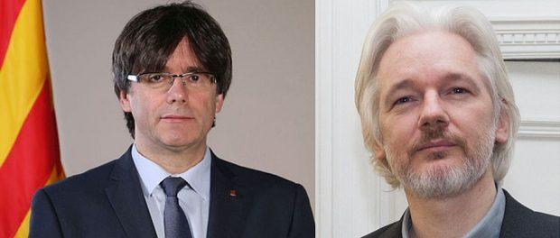 Wohnen bald vielleicht zusammen: Puigdemont (links) und Julian Assange.