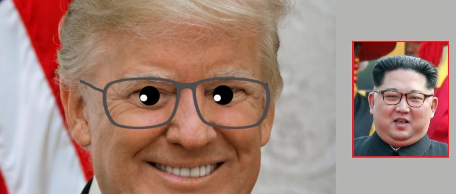 So stellt sich unser Zeichner die neue Brille von Donald Trump vor. Rechts: Nordkoreas Machthaber Kim Jong-un mit seiner typischen Sehhilfe.