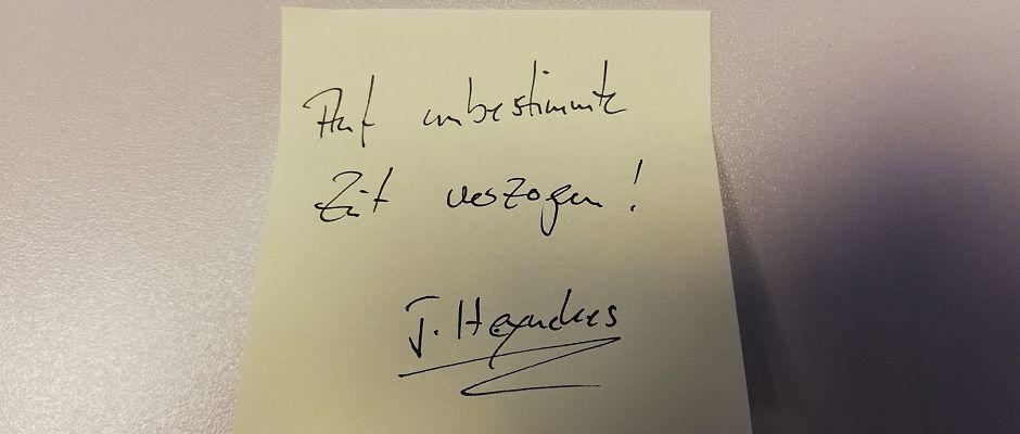 Diesen Zettel fand Uli Hoeneß an der Haustür von seinem Freund Jupp Heynckes.